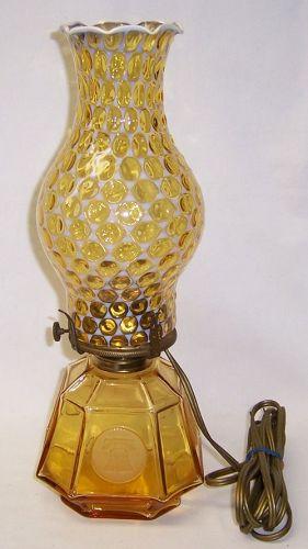 Fostoria Glass Amber COIN 13 1/2 Inch High Electric COACH LAMP