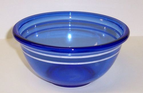 Hazel Atlas Cobalt Blue 6 Inch UTILITY BOWL with WHITE BANDS