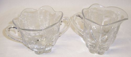 Ducan and Miller Crystal FIRST LOVE CREAMER and SUGAR BOWL Set