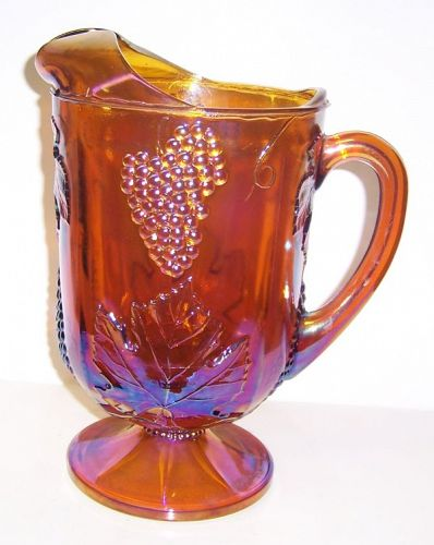 Indiana Glass Iridescent Gold Carnival HARVEST GRAPE Footed PITCHER