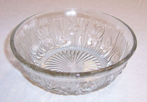 Jeannette Crystal IRIS and HERRINGBONE 5 3/8 Inch CEREAL BOWL