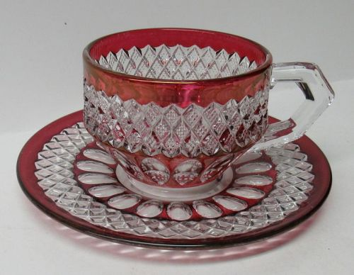 Westmoreland Ruby Flashed WAKEFIELD WATERFORD Cup and Saucer