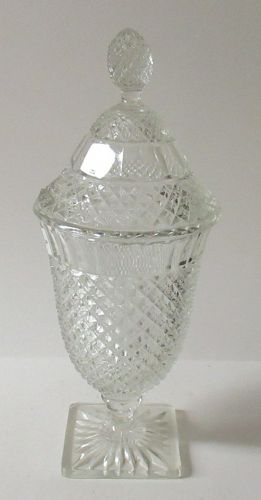 Hocking Crystal MISS AMERICA 11 1/2 Inch Tall CANDY DISH with LID