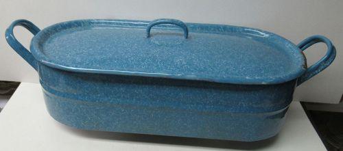 Vintage Medium Blue Small Mottled Granite Ware FISH POACHER, LID, RACK