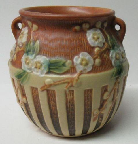Vintage ROSEVILLE Brown CHERRY BLOSSOM 5 1/4 In 2-Handled VASE