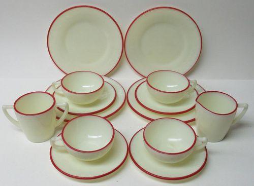 McKee Custard LAUREL RED BANDS 14 Pc CHILDS HOSTESS TEA SET