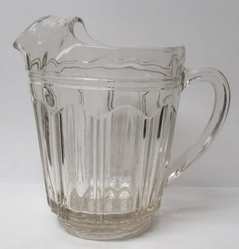 Hocking Crystal COLONIAL aka KNIFE and FORK 7 In 54 Oz ICE LIP PITCHER