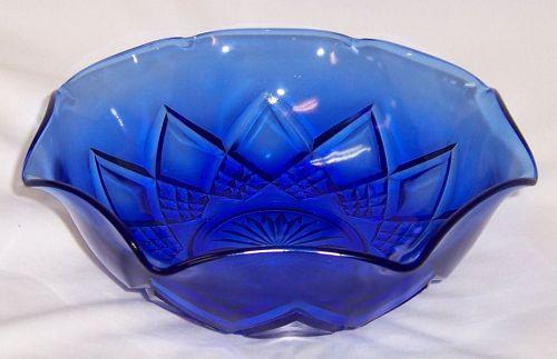 Hazel Atlas Cobalt Blue MITERED ARCHES or FANCY 8 1/2 Inch BOWL