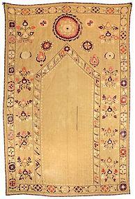 Rare Antique Uzbek Susani Prayer Arch Embroidery, c. 1900.