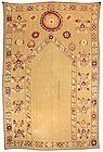 Rare Antique Uzbek Susani Prayer Arch Embroidery, c. 1900.