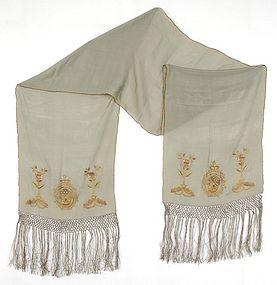 Antique Ottoman Embroidered Silk Shawl.