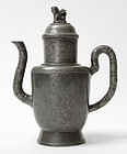 Antique Chinese Pewter Tea Pot, 19th C.