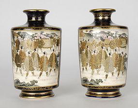 A Pair Japanese Satsuma Vases by Hotoda, Meiji.