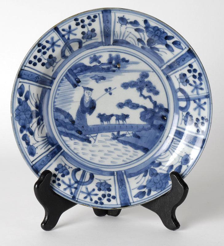 Japanese Arita Blue and White Porcelain Dish, 17th C.