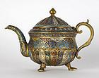 Fine Kashmir Gilt Bronze Teapot with Enamel, 19th C.