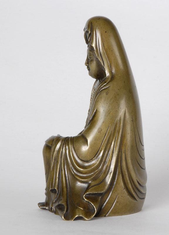 Fine Japanese Inlaid Bronze Figure of Kannon, Signed.