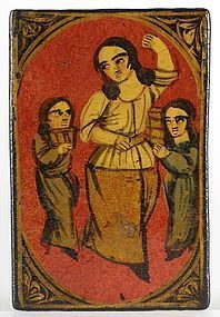 Single Qajar Papier-Mache Playing Card with Mother, # 4