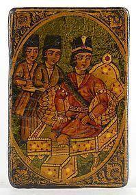Single Qajar Papier-Mache Nas Card with Prince & Attendants, # 4