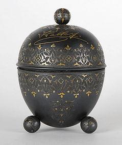 Antique Spanish Toledo Silver & Gold Damascened Steel Box.