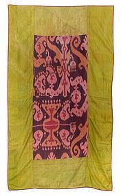Antique Uzbek Silk Ikat Cover or Blanket.