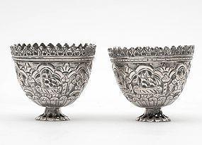 Pair of Ottoman Silver Zarfs w. Ship, c. 1900.