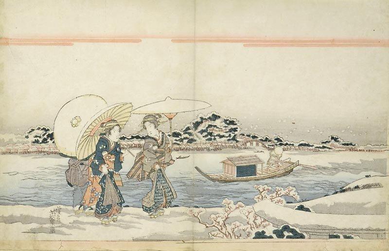 """Keisai Eisen - """"Two Women walking along the Sumidagawa"""""""