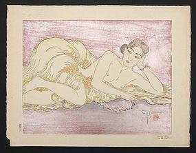 """Paul Jacoulet - """"Premier Amour-Jeune Fille de Yap"""" Woodblock 1st Ed."""
