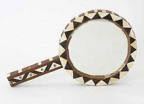 An Antique Ottoman Intarsia Hand Mirror w. Mother-of-Pearl.