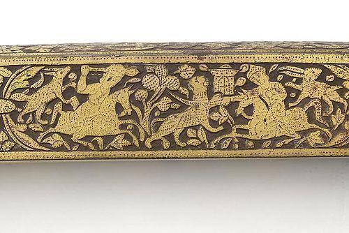 """Persian Qajar Steel Qalamdan Pen Box w. """"False Damascene"""", 19th C."""