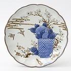 Japanese Arita Porcelain Plate with Bonsai Scissors, Edo Period.