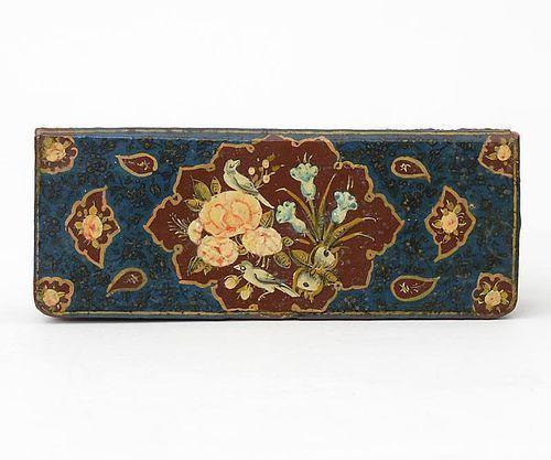 "Small Persian Qajar Box with ""Rose & Nightingale"" Motif, 19th C."