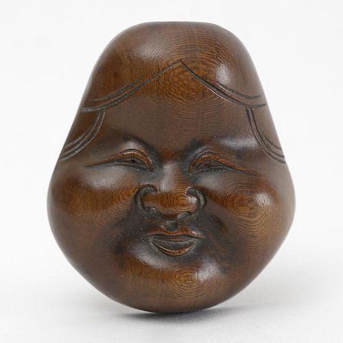 Japanese Wood Mask Netsuke of Otafuku or Okame # 1, 19th C.
