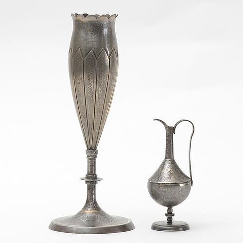 Two Small Indo Persian Sialkot  Gold Koftgari Steel Vase and Jug.