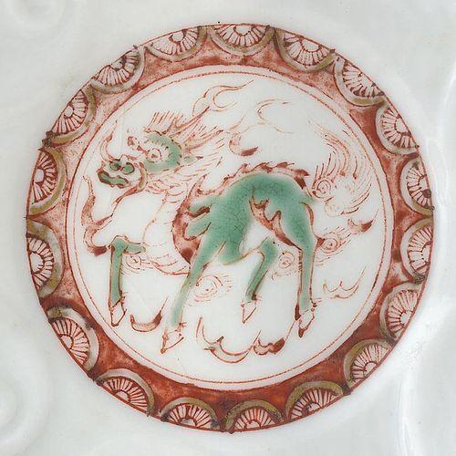 Antique Japanese Kakiemon Porcelain Dish with Kirin, Edo Period.