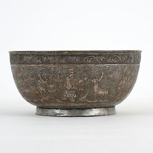 Fine Persian Tinned Copper Bowl w. Pastoral Scene, Marked.