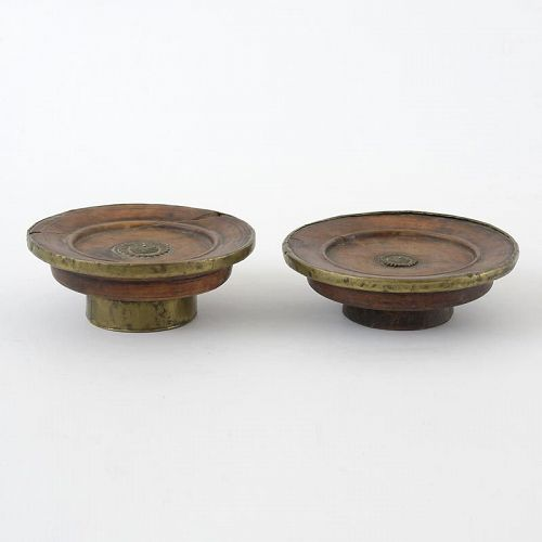 Two Antique Wooden Tibetan Ritual Offering Torma Stands.