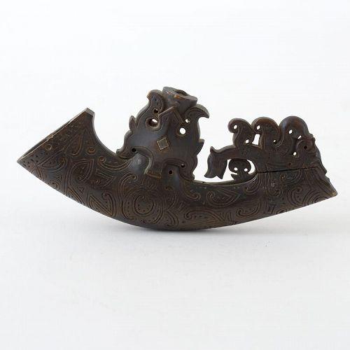 Antique Batak Powder Horn Sumatra Indonesia, Parpanggalahan # 3.