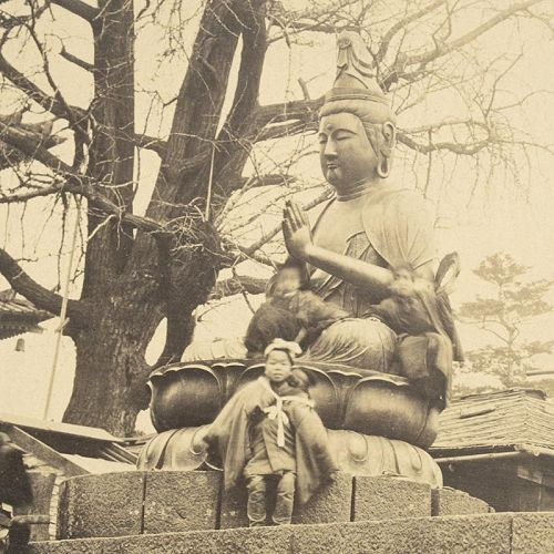 Albumen Photograph of Bronze Bosatsus at Senso-ji in Asakusa, 1870/80.