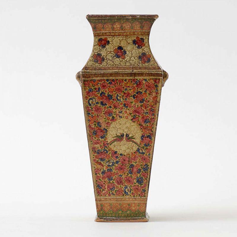 Antique Kashmir Lacquered Papier-Mache Vase, 19th C.