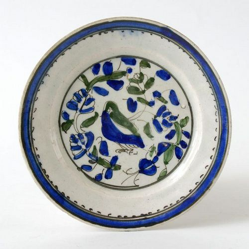 An Antique Persian Qajar Fritware Plate with Bird.