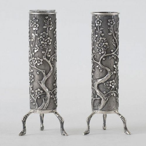A Pair Chinese Export Silver Spill Vases by Wang Hing, c. 1900.