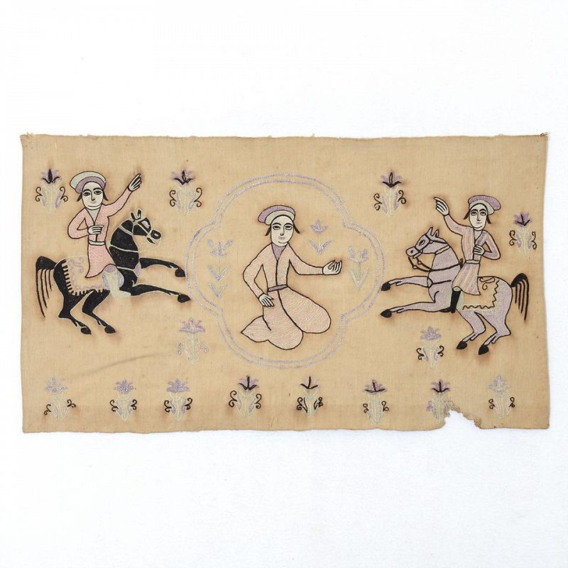 Persian Qajar Embroidered Figural Panel from Isfahan, c. 1910.