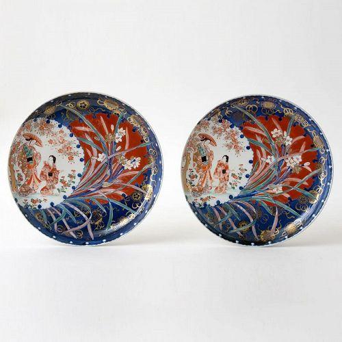A Rare Pair of Japanese Arita Ko Imari Porcelain Dishes, 18th C.