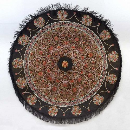 Wonderful Persian Round Rasht Silk Applique Embroidery Cover, 19th C.