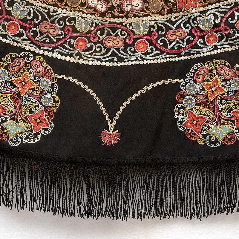 Wonderful Persian Round Rasht Silk Applique Embroidery Cover, 19th C.
