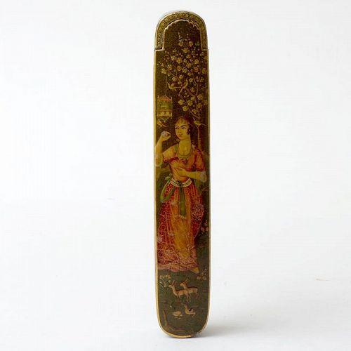 Fine Persian Papier-Mache Lacquer Qalamdan w. Noblewoman, 19th C.