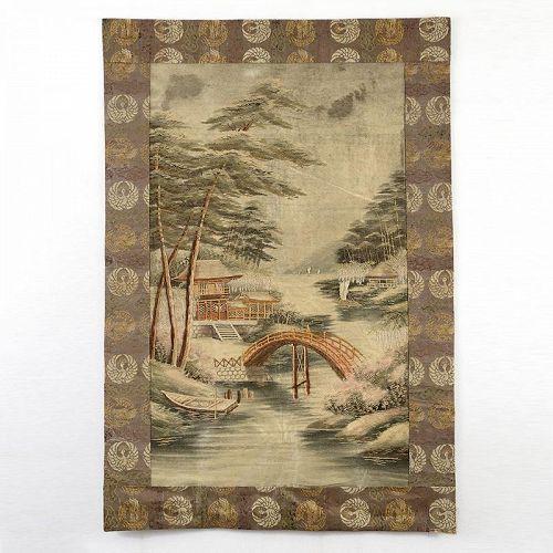 Antique Japanese Silk Embroidery Hanging w. Temple & Bridge, Meiji.