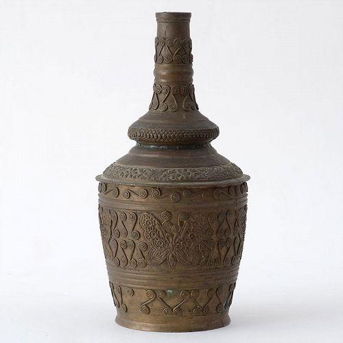 Old Malay Minangkabau Brass Bottle Vase, Sumatra-Indonesia.