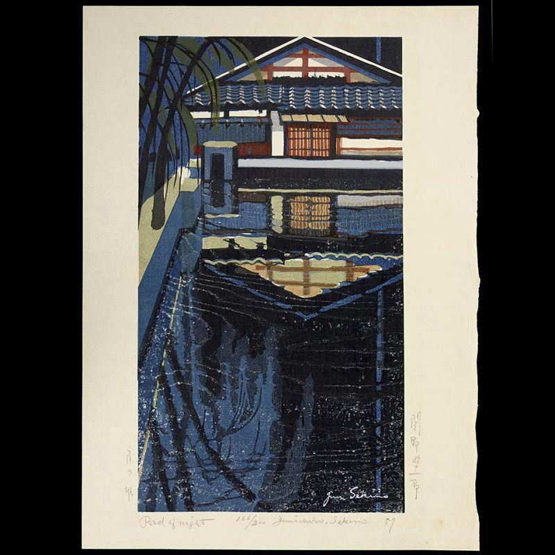 "Junichiro Sekino - Limited Japanese Woodblock Print ""Pond of Night"""