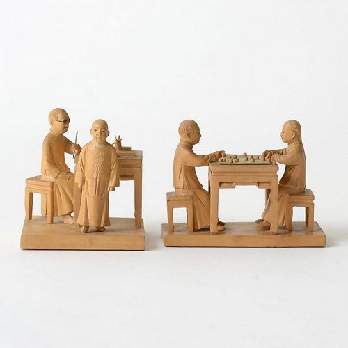 Two Chinese Tushanwan Wood Figurines of Xiangqi & Lesson, c. 1930.
